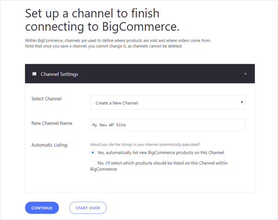Set Up a Channel for WordPress Site in BIgCommerce