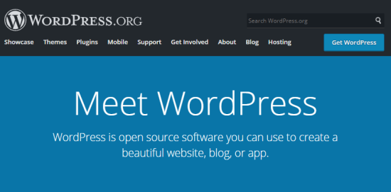 The WordPress.org front page