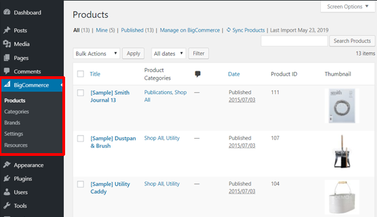 BigCommerce Sample Products in WordPress dashboard