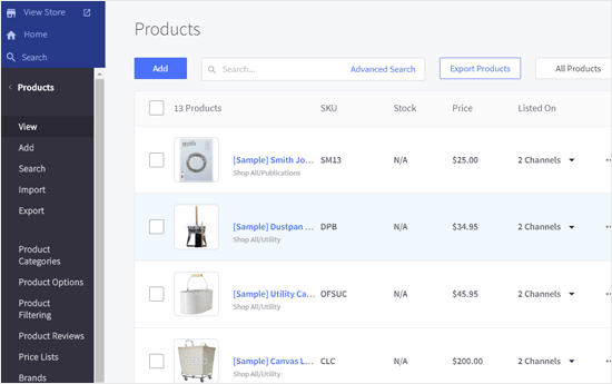 BigCommerce Products Page