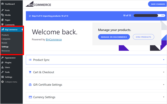 BIgCommerce for WordPress Settings