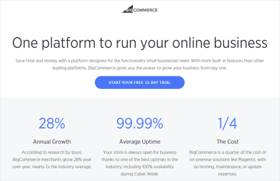 The BigCommerce front page