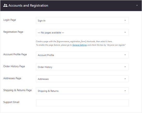 BigCommerce for WordPress Account and Registration Settings
