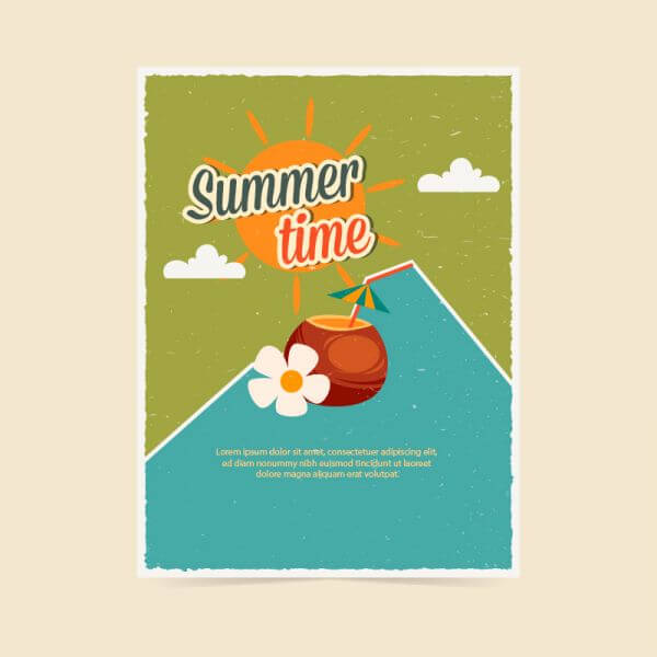Summer retro poster vector