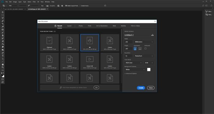 Screenshot of creating a new document in Photoshop before making a Photoshop collage