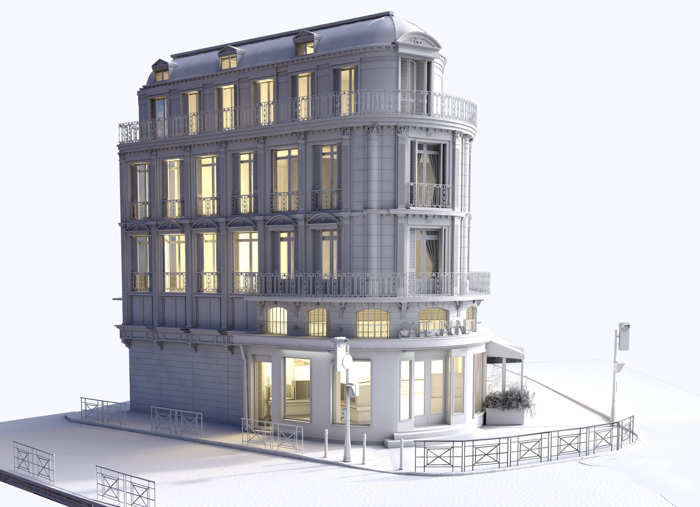 A large white house 3d model created from photos