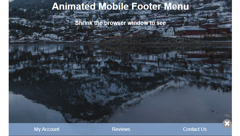 Demo image: Animated Mobile Footer Menu