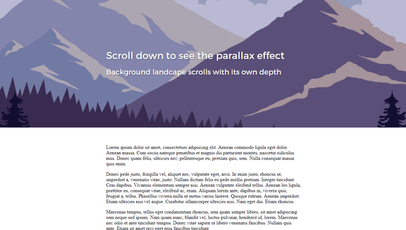 Demo image: Header Image Parallax Scrolling Effect with CSS