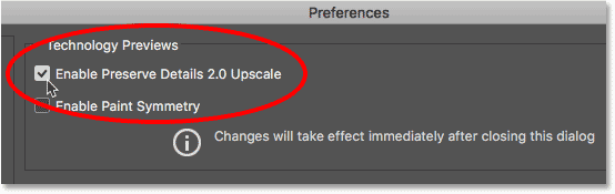 The Enable Preserve Details 2.0 Upscale upscale in the Photoshop Preferences