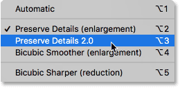Setting the Resample option to Preserve Details 2.0 in Photoshop