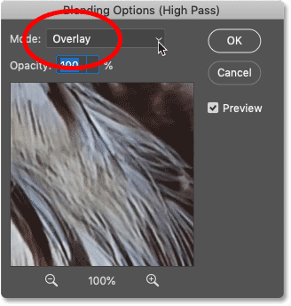 Sharpening the image by changing the High Pass filter