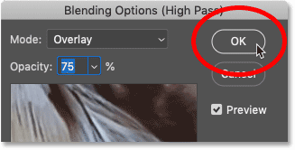 Closing the Blending Options dialog box in Photoshop