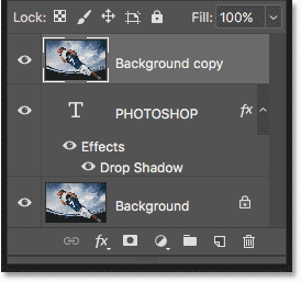 The Background copy layer has been moved above the Type layer