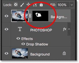 Photoshop converted the selection into a layer mask