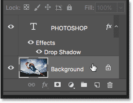 Selecting the Background layer in the Layers panel in Photoshop
