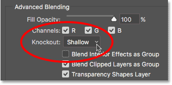 Knockout option in Photoshop Advanced Blending options