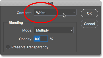 Contents option in Fill dialog box in Photoshop