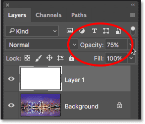 Photoshop layer opacity option in Layers panel