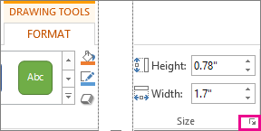 Dialog box launcher in the Size group on the Drawing Tools Format tab
